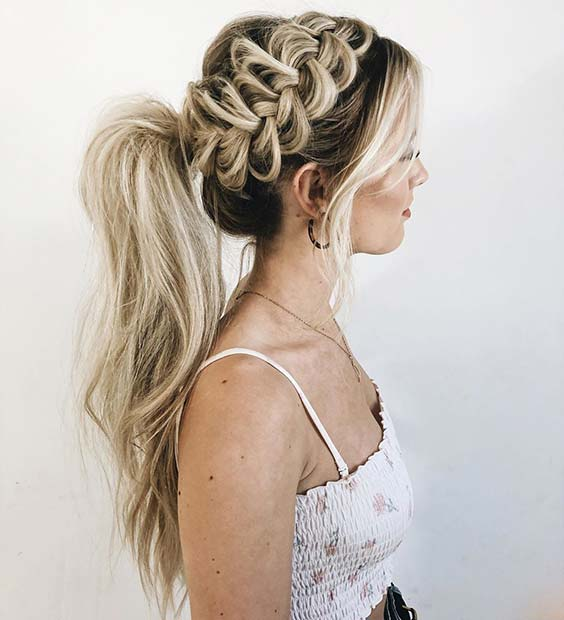 Side Braid with a Ponytail