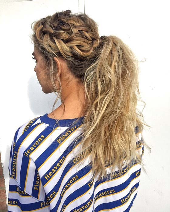 Two Side Braids with a Wavy Ponytail