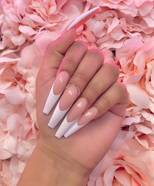 Simple and Glam French Tip Coffin Nails