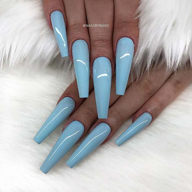 Long Pastel Nailsin Light Blue