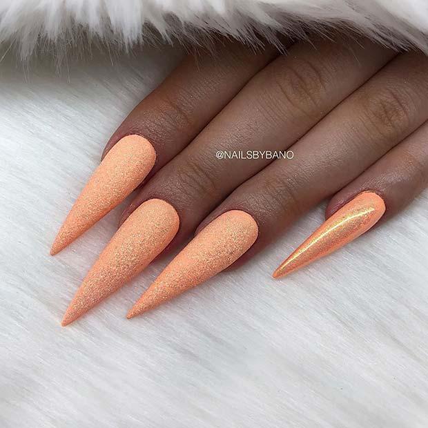 Summery Pastel Orange Nails