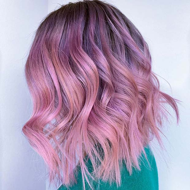 Light Pink Long Bob Hairstyle