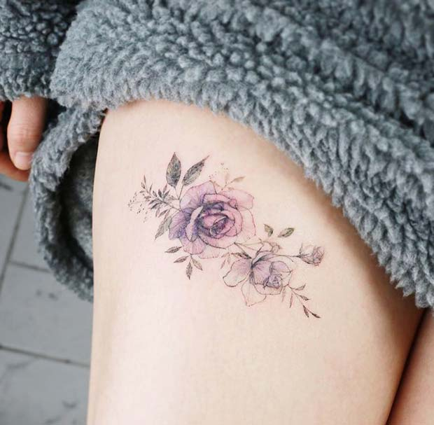 Small Rose Thigh Tattoo