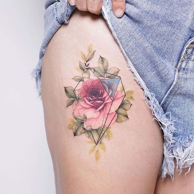 Unique Rose Tattoo Design