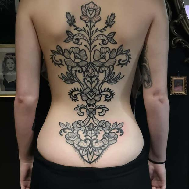 Beautiful Back Lace Tattoo