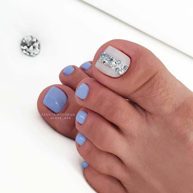 Beautiful Blue Pedi with Rhinestones