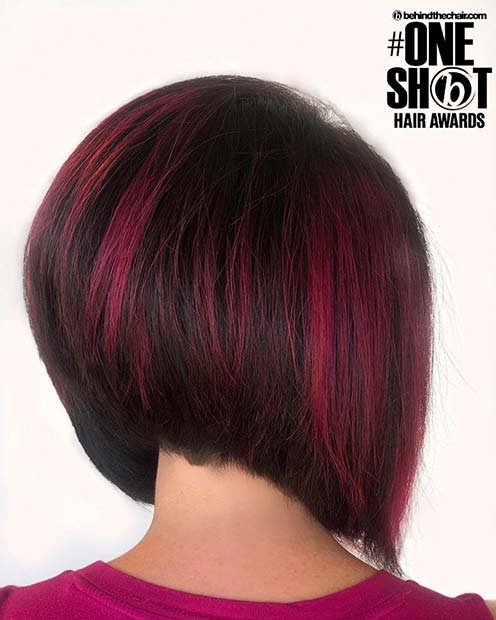 Stacked Bob with Red Highlights