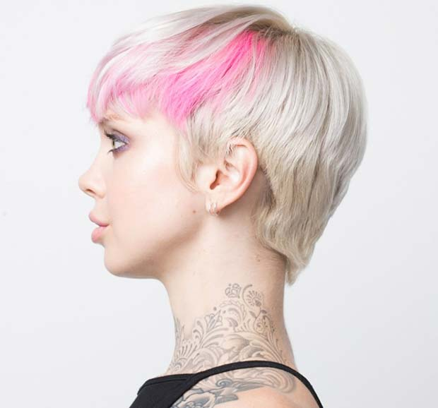 Blonde Pixie with a Pop of Pink