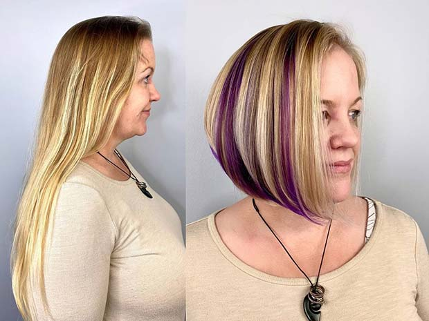 Blonde and Purple Stacked Bob