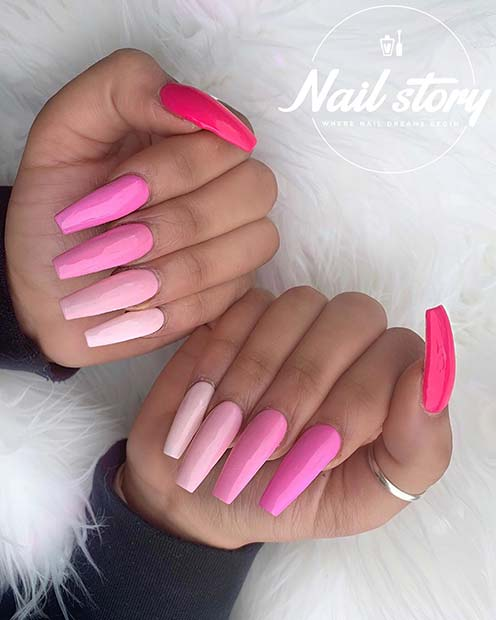Bold Pink Coffin Nail Design