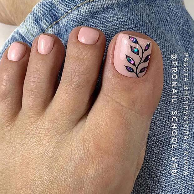 Botanical Toe Nail Design