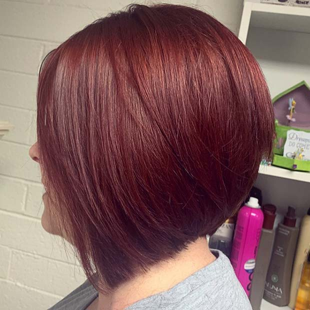 Burgundy Stacked Bob Hairstyle