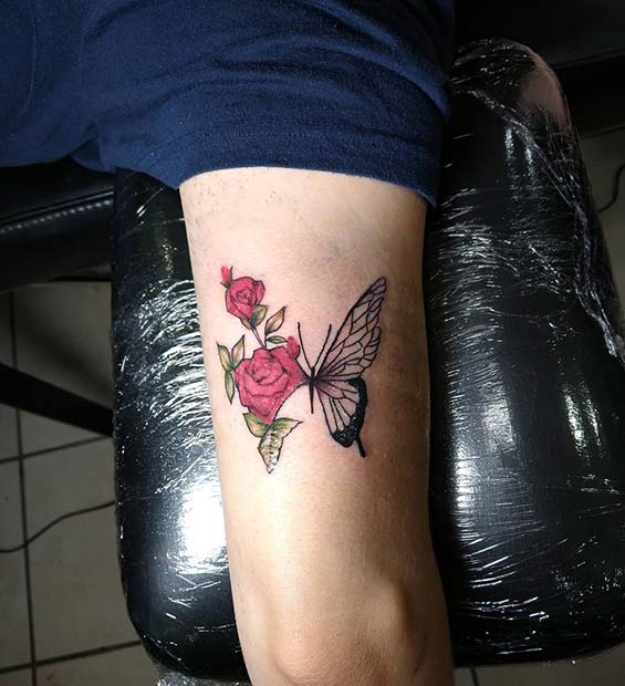 Butterfly with Roses