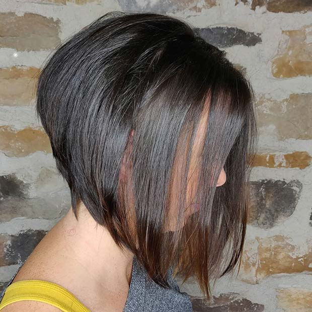 Dark Brown Stacked Bob Haircut