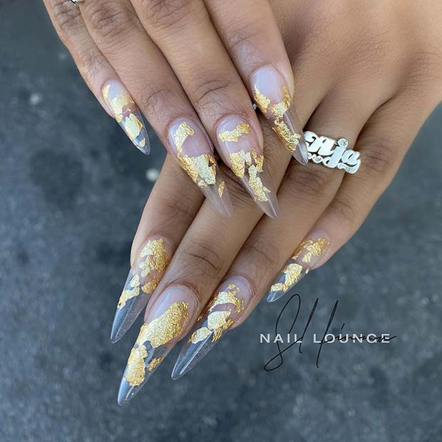 Clear Nails with Gold Foils