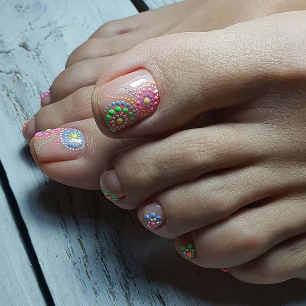 Colorful Toe Nail Art