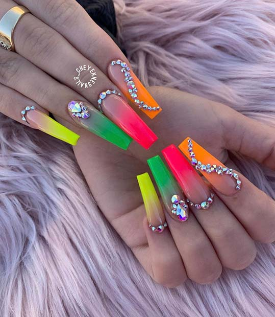 Colorful Ombre Nails with Rhinestones