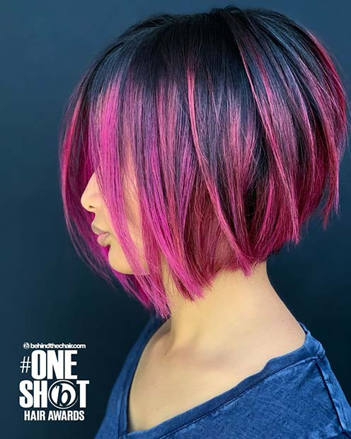 Cute Black and Pink Bob Cut