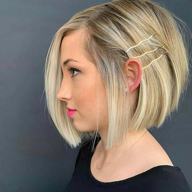 Cute Blonde Stacked Bob
