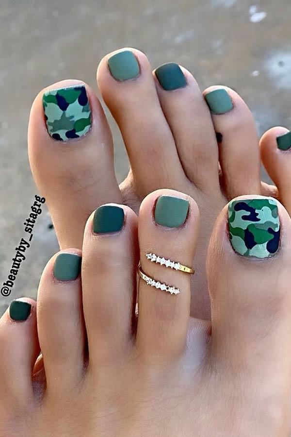 Cute Camo Toe Nail Design