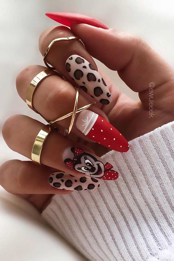 Cute Leopard and Disney Nails