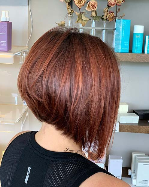 Fiery Red Stacked Bob Haircut