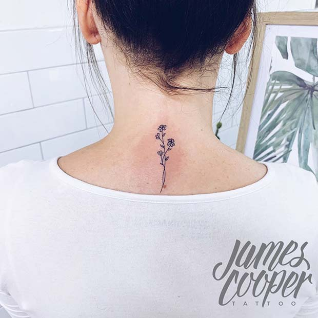 Floral Back of the Neck Tattoo
