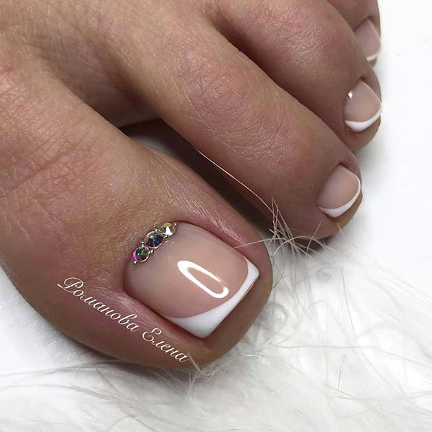 French Tips with Rhinestones