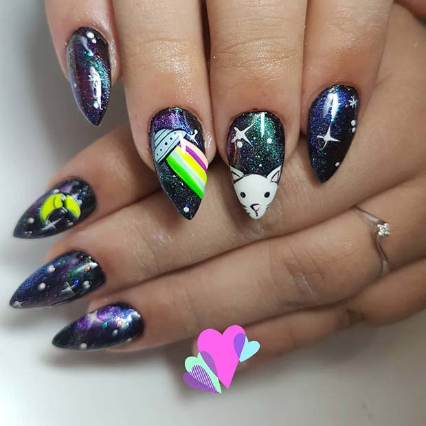 Fun Outer-Space Nail Design