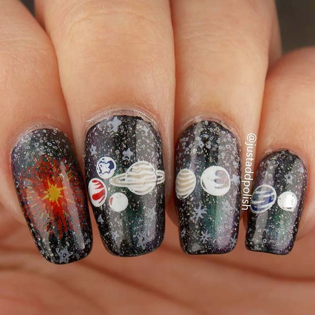 Galaxy Nail Art with Planets