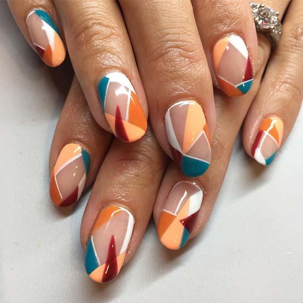 Geometric Nail Art for Short Nails