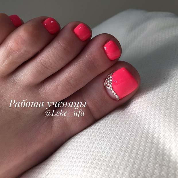 Glam Bright Pink Pedi