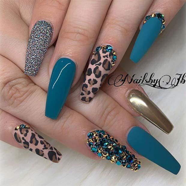 Glam Leopard Print Mani