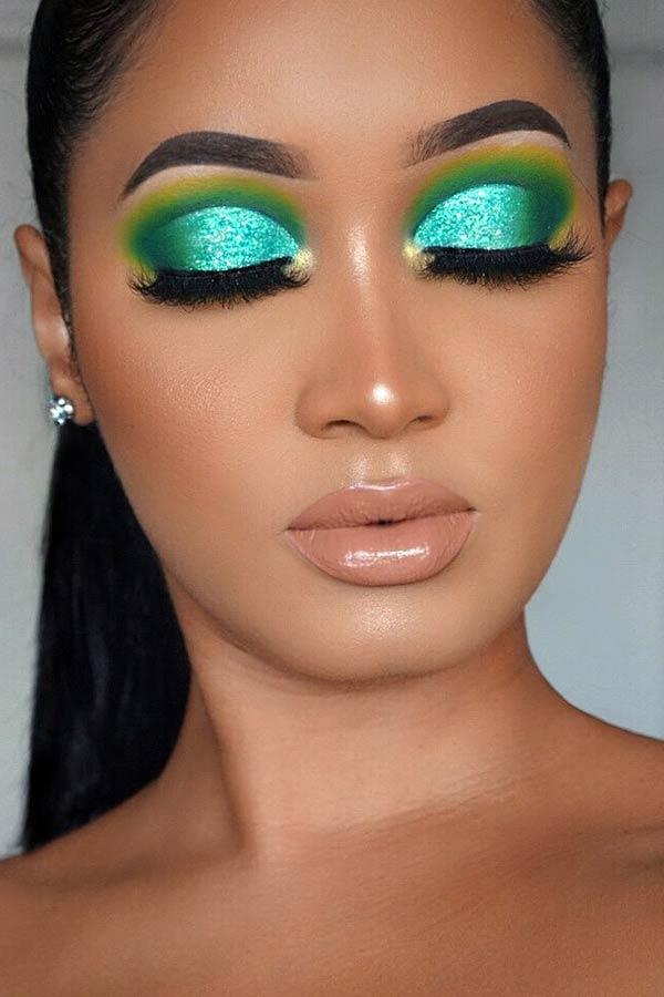 Glam Neon Blue Glitter Eyes