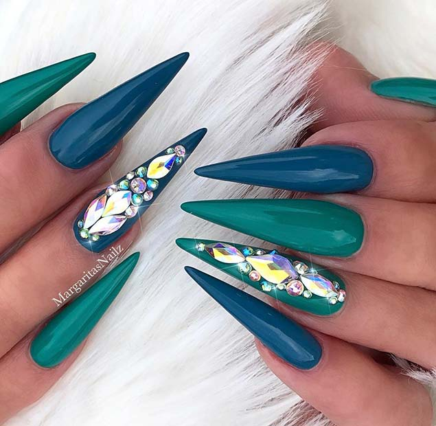Blue and Teal Stiletto Nails