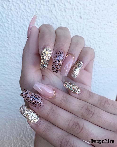 Glitzy Gold Leopard Nails