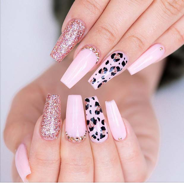 Leopard Nails with Glitter