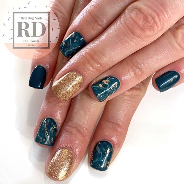 Gorgeous Gold and Teal Nail Design