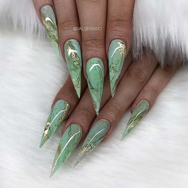 Green Marble Stiletto Nails