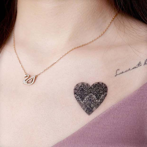 Small Lace Heart Tattoo