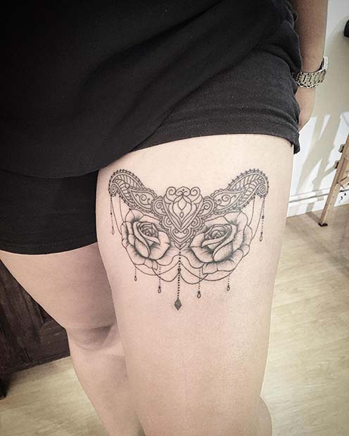 Lace Tattoo with Roses