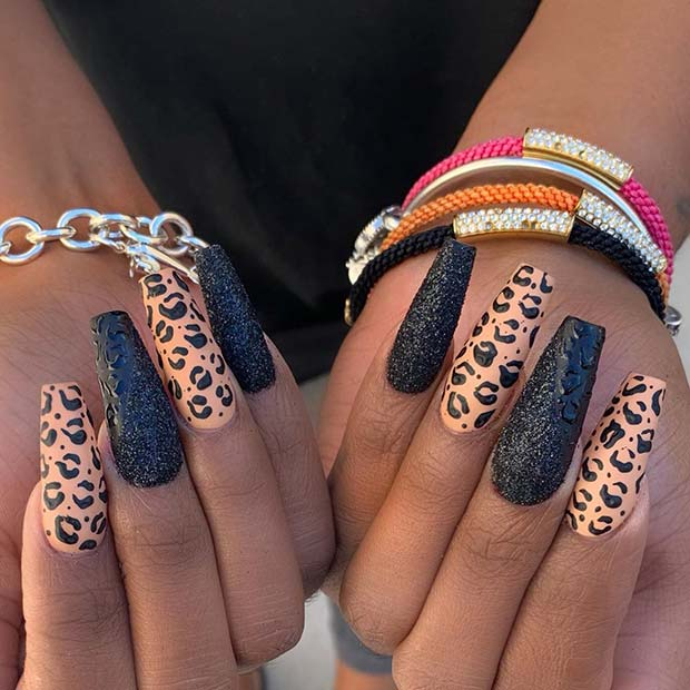 Leopard And Glitter Nail Art