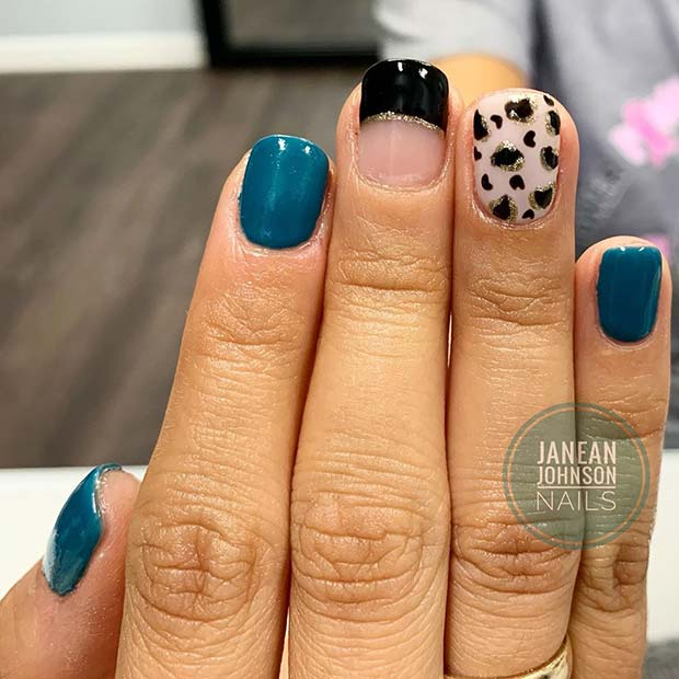 Leopard Print and Teal Nails
