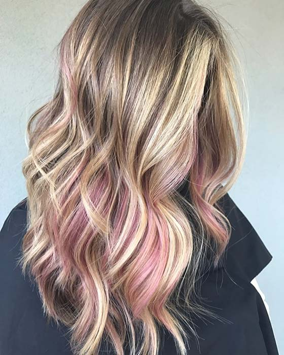 Low Key Pink Highlights for Blonde Hair