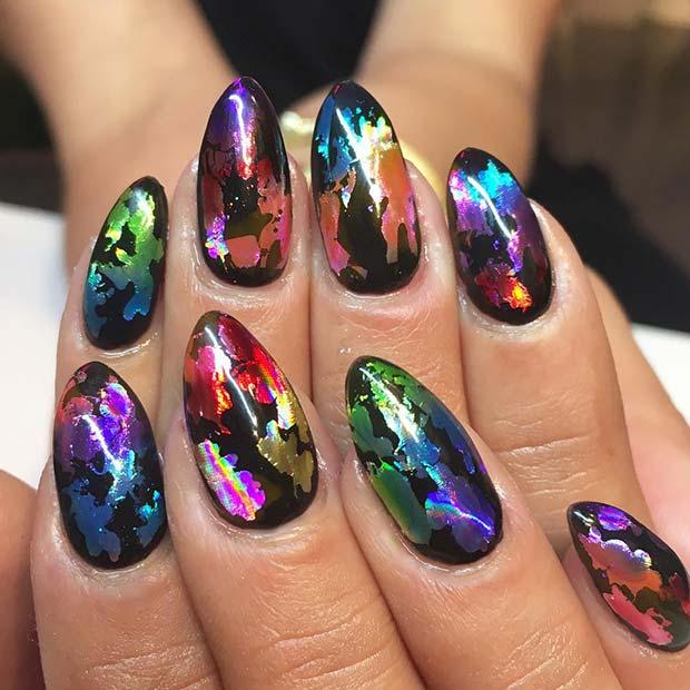 Colorful Foil Nails