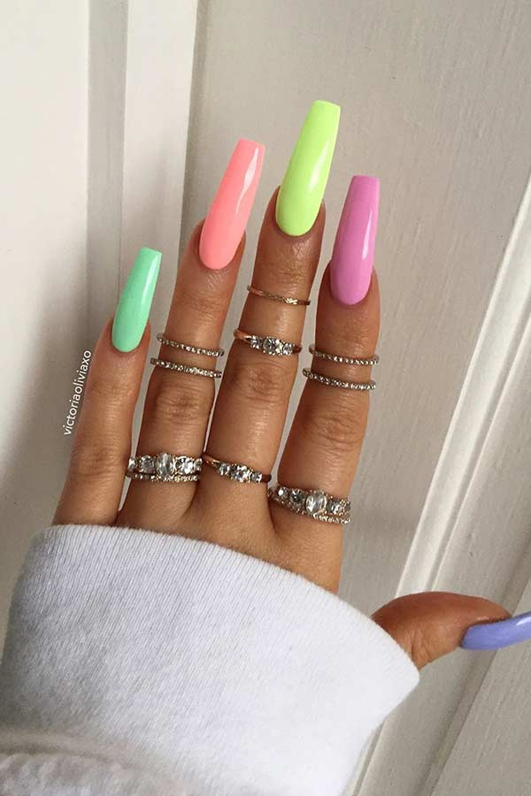 Multi-Colored Pastel Nails