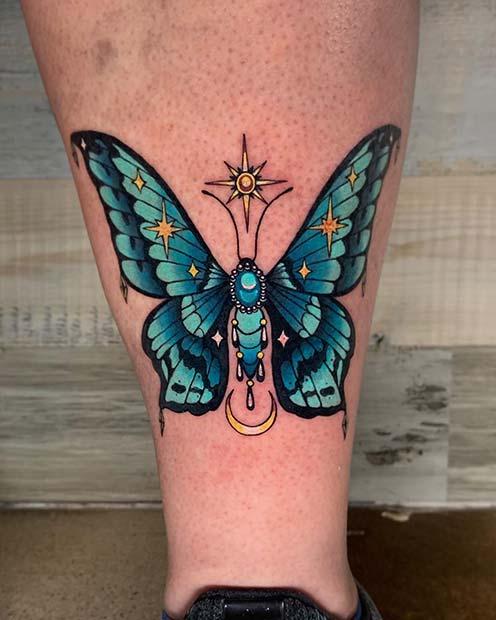 Mystical Blue Butterfly Tattoo Design