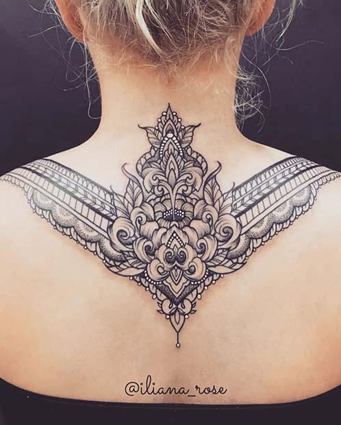 Neck, Back and Shoulder Tattoo
