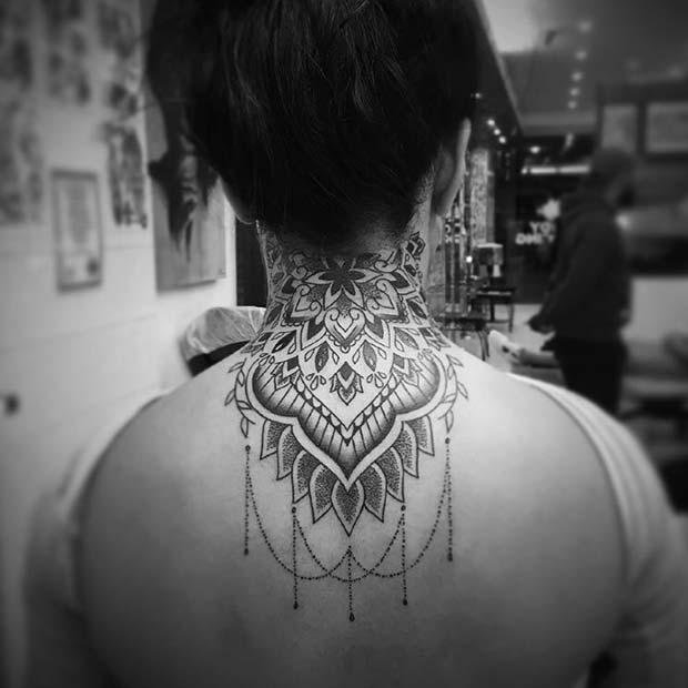 Neck and Back Tattoo Idea