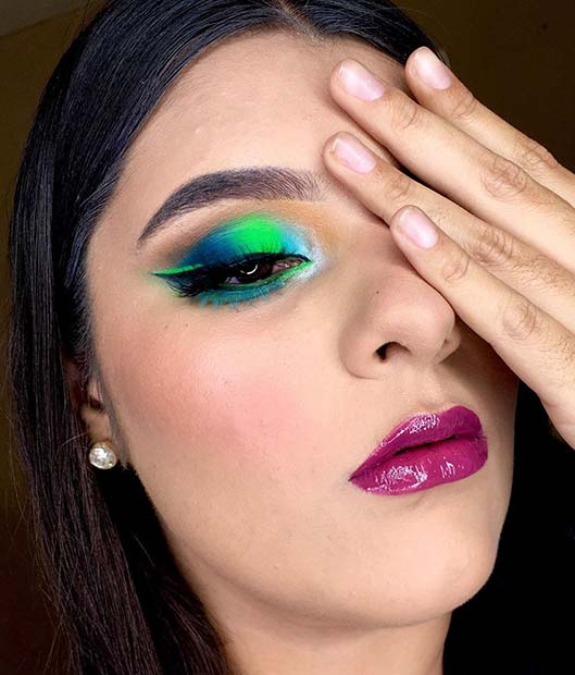 Neon Blue and Green Eye Makeup Look